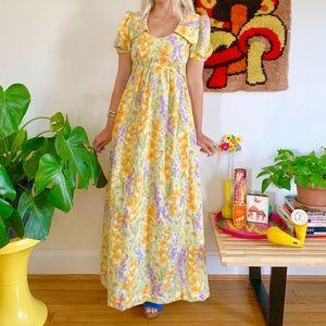 Vintage 70s collared floral prairie maxi dress XS
